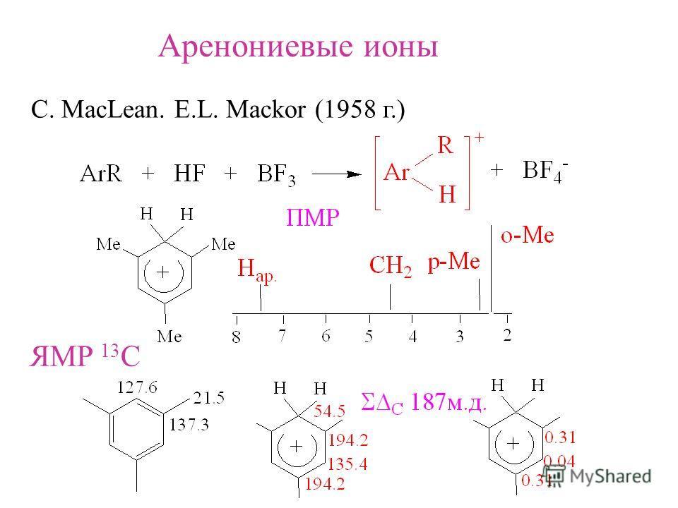 Аренониевые ионы C. MacLean. E.L. Mackor (1958 г.) ЯМР 13 С