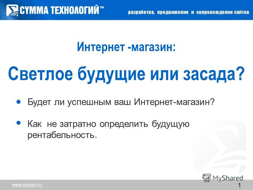 www.sumteh.ru 1 Интернет -магазин: Cветлое будущие или засада? Будет ли успешным ваш Интернет-магазин? Как не затратно определить будущую рентабельность. www.sumteh.ru