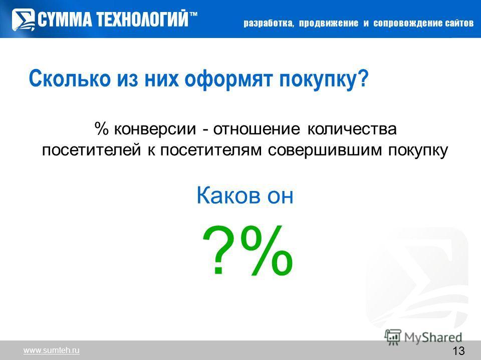 13 Сколько из них оформят покупку? % конверсии - отношение количества посетителей к посетителям совершившим покупку Каков он ?% www.sumteh.ru