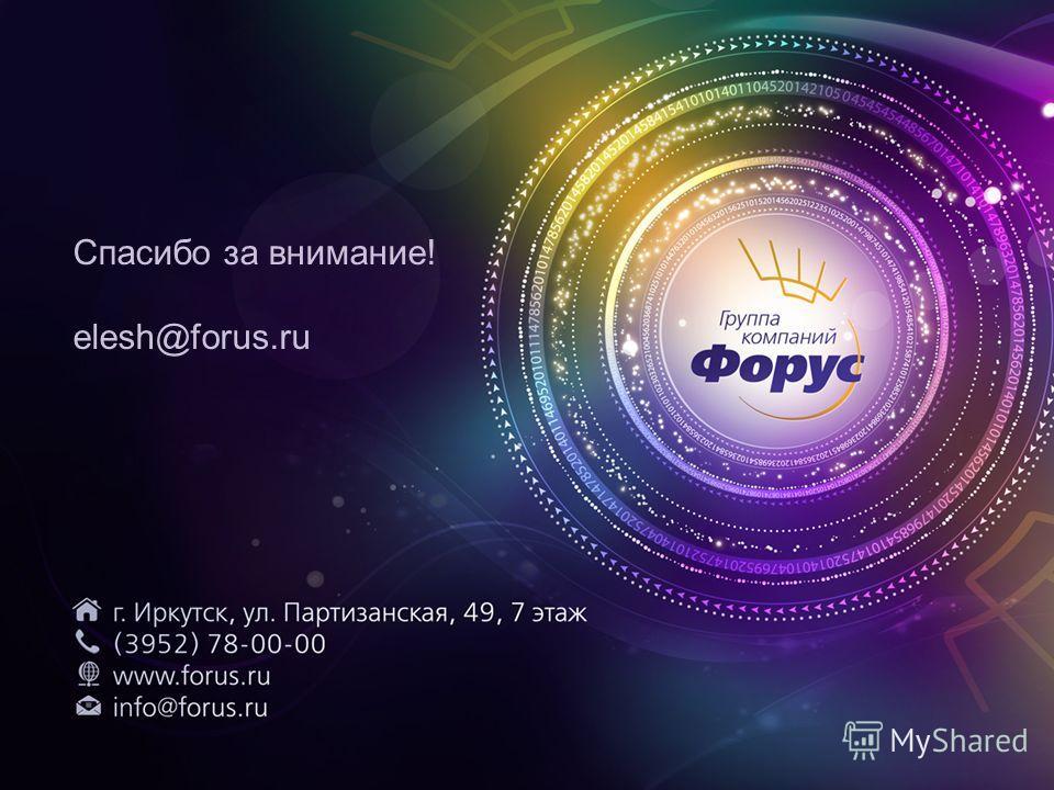 Спасибо за внимание! elesh@forus.ru
