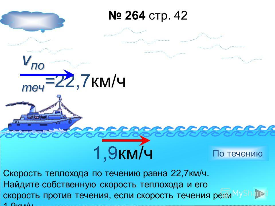 12,8км/ч Собственная скорость катера 12,8 км/ч, а скорость течения 1,7км/ч. Найдите скорость катера по течению и против течения. 12,8км/ч Против течения По течению 1,7км/ч 263 стр. 42