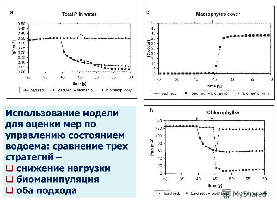 Использование модели для оценки мер по управлению состоянием водоема: сравнение трех стратегий – снижение нагрузки биоманипуляция оба подхода Макрофиты Фосфор в воде Водоросли