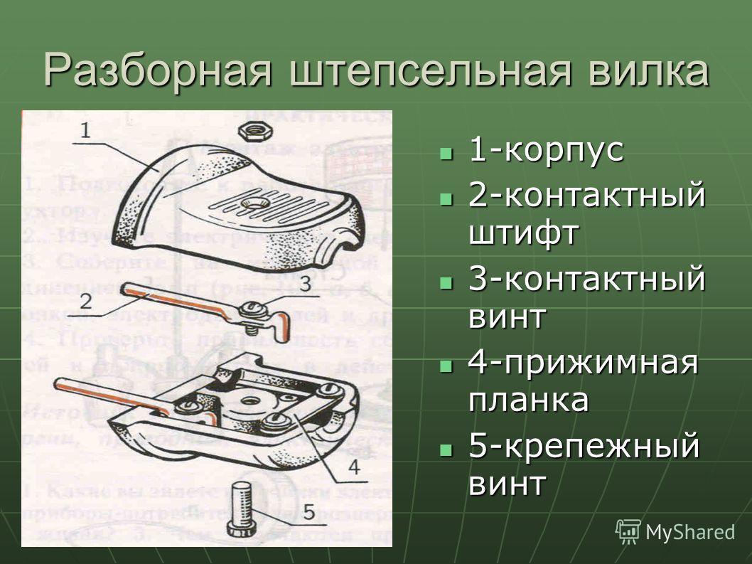 Разборная штепсельная вилка 1-корпус 1-корпус 2-контактный штифт 2-контактный штифт 3-контактный винт 3-контактный винт 4-прижимная планка 4-прижимная планка 5-крепежный винт 5-крепежный винт