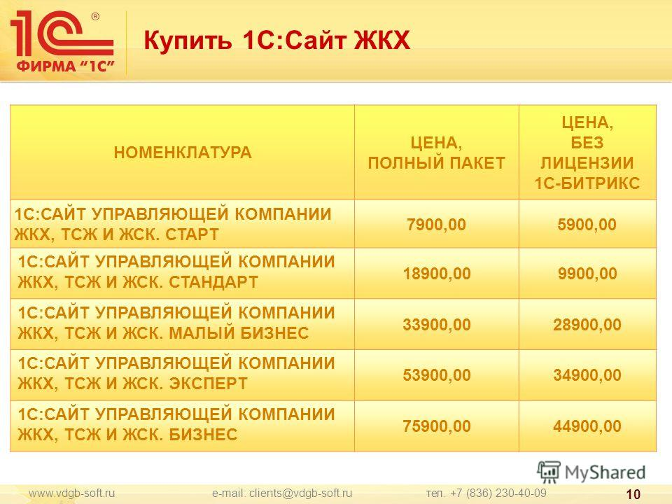 Купить 1С:Сайт ЖКХ www.vdgb-soft.ru e-mail: clients@vdgb-soft.ru тел. +7 (836) 230-40-09 10 НОМЕНКЛАТУРА ЦЕНА, ПОЛНЫЙ ПАКЕТ ЦЕНА, БЕЗ ЛИЦЕНЗИИ 1С-БИТРИКС 1С:САЙТ УПРАВЛЯЮЩЕЙ КОМПАНИИ ЖКХ, ТСЖ И ЖСК. СТАРТ 7900,005900,00 1С:САЙТ УПРАВЛЯЮЩЕЙ КОМПАНИИ Ж