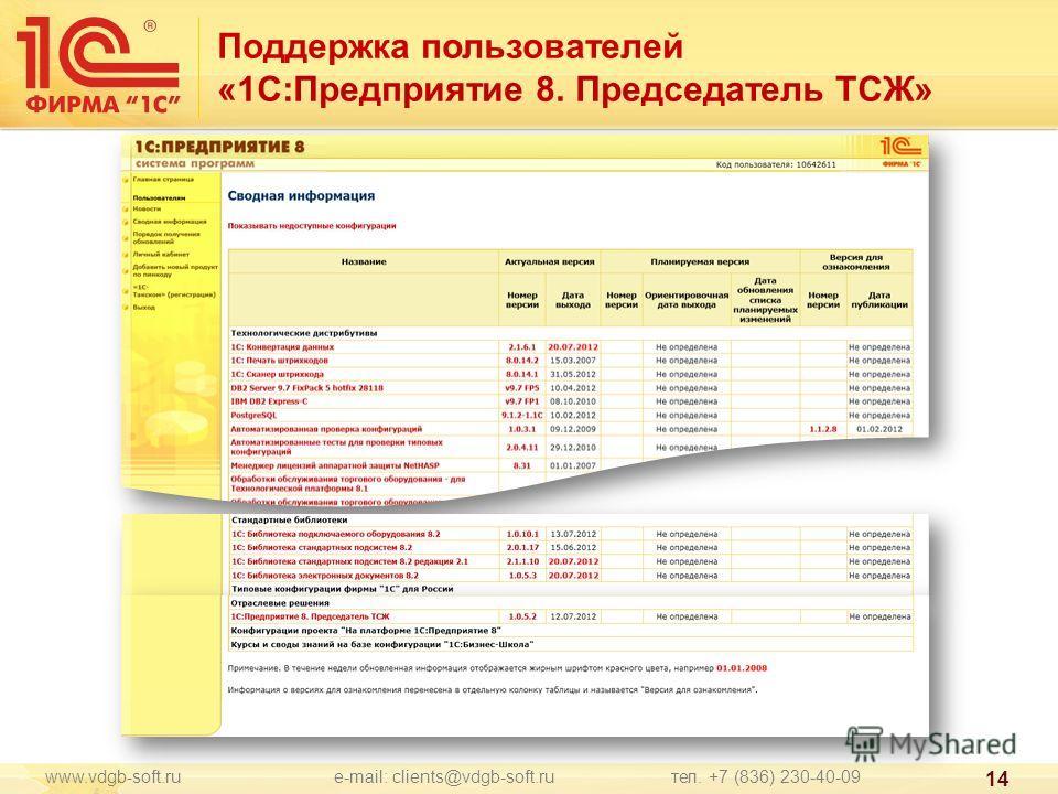 www.vdgb-soft.ru e-mail: clients@vdgb-soft.ru тел. +7 (836) 230-40-09 14 Поддержка пользователей «1С:Предприятие 8. Председатель ТСЖ»