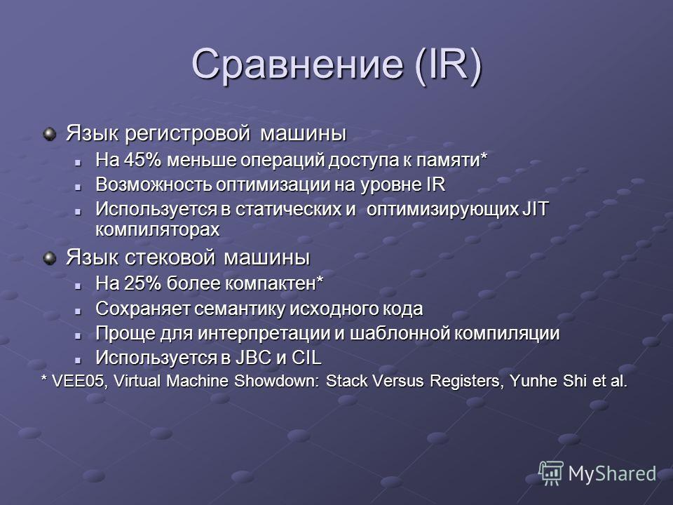 Сравнение (IR) Язык регистровой машины На 45% меньше операций доступа к памяти* На 45% меньше операций доступа к памяти* Возможность оптимизации на уровне IR Возможность оптимизации на уровне IR Используется в статических и оптимизирующих JIT компиля
