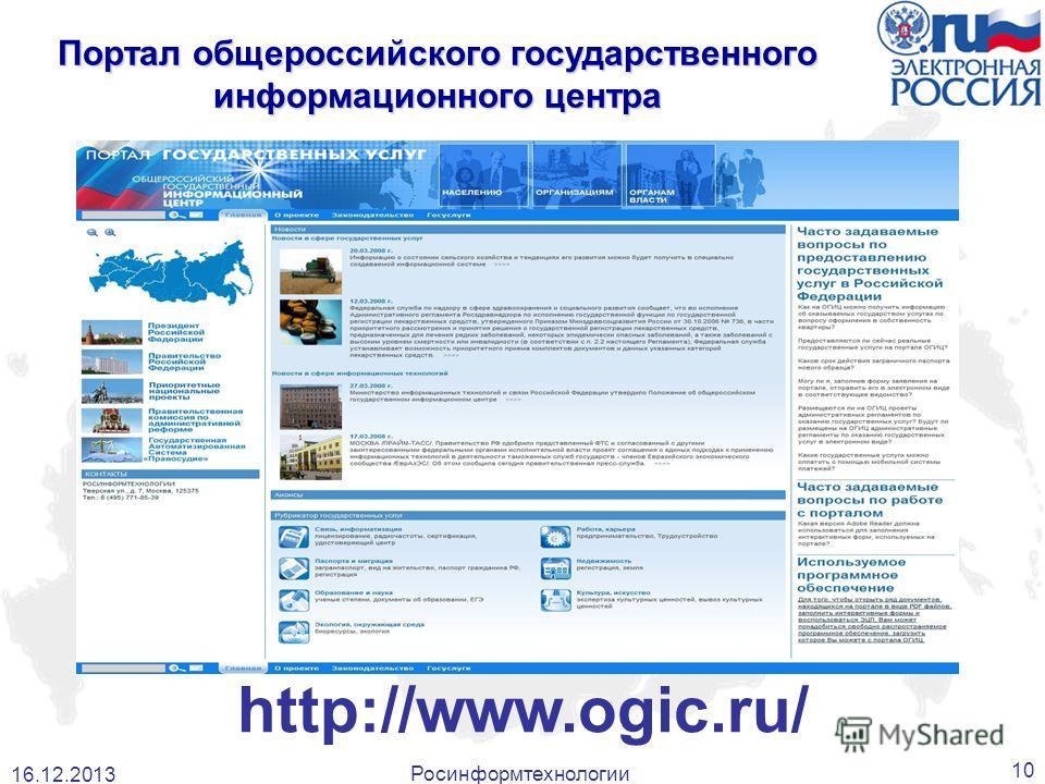 http://www.ogic.ru/ 16.12.2013 10 Росинформтехнологии Портал общероссийского государственного информационного центра