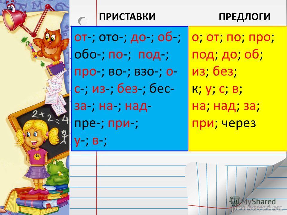 от-; ото-; до-; об-; обо-; по-; под-; про-; во-; взо-; о- с-; из-; без-; бес- за-; на-; над- пре-; при-; у-; в-; о; от; по; про; под; до; об; из; без; к; у; с; в; на; над; за; при; через ПРИСТАВКИПРЕДЛОГИ 6