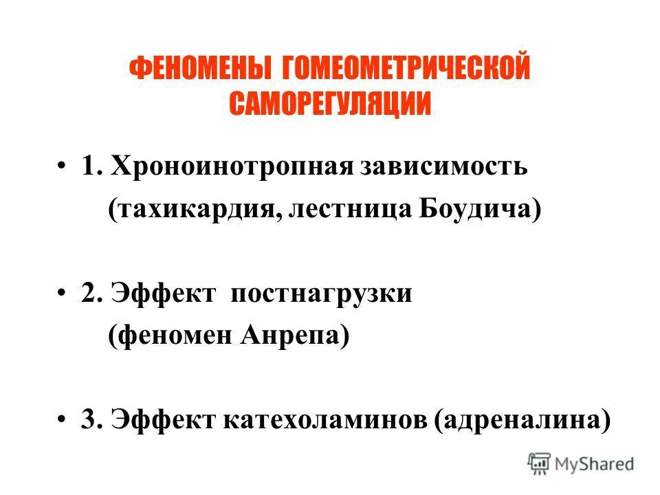 ФЕНОМЕНЫ ГОМЕОМЕТРИЧЕСКОЙ САМОРЕГУЛЯЦИИ 1. Хроноинотропная зависимость (тахикардия, лестница Боудича) 2. Эффект постнагрузки (феномен Анрепа) 3. Эффект катехоламинов (адреналина)