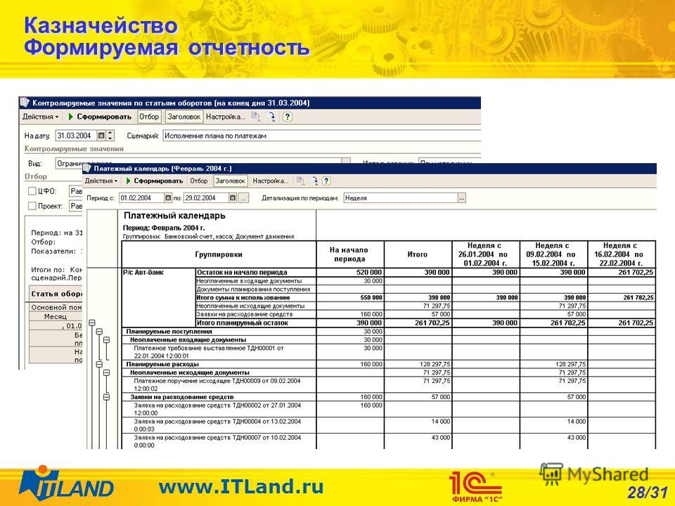 28/31 www.ITLand.ru Казначейство Формируемая отчетность