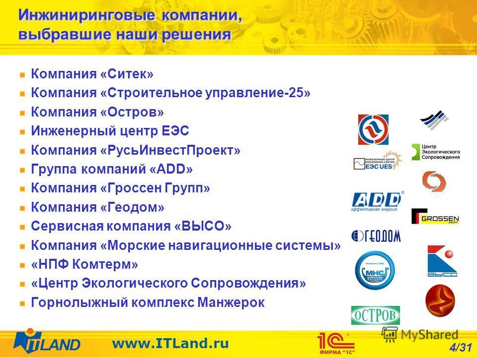 4/31 www.ITLand.ru Инжиниринговые компании, выбравшие наши решения Компания «Ситек» Компания «Строительное управление-25» Компания «Остров» Инженерный центр ЕЭС Компания «РусьИнвестПроект» Группа компаний «ADD» Компания «Гроссен Групп» Компания «Геод