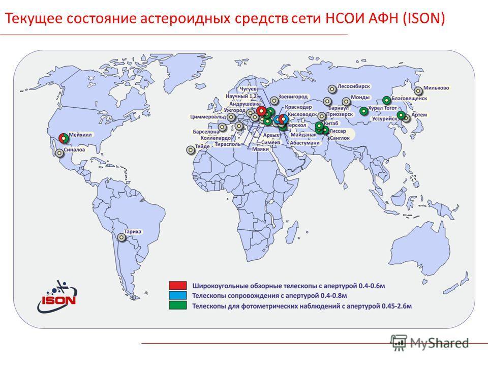 Текущее состояние астероидных средств сети НСОИ АФН (ISON)