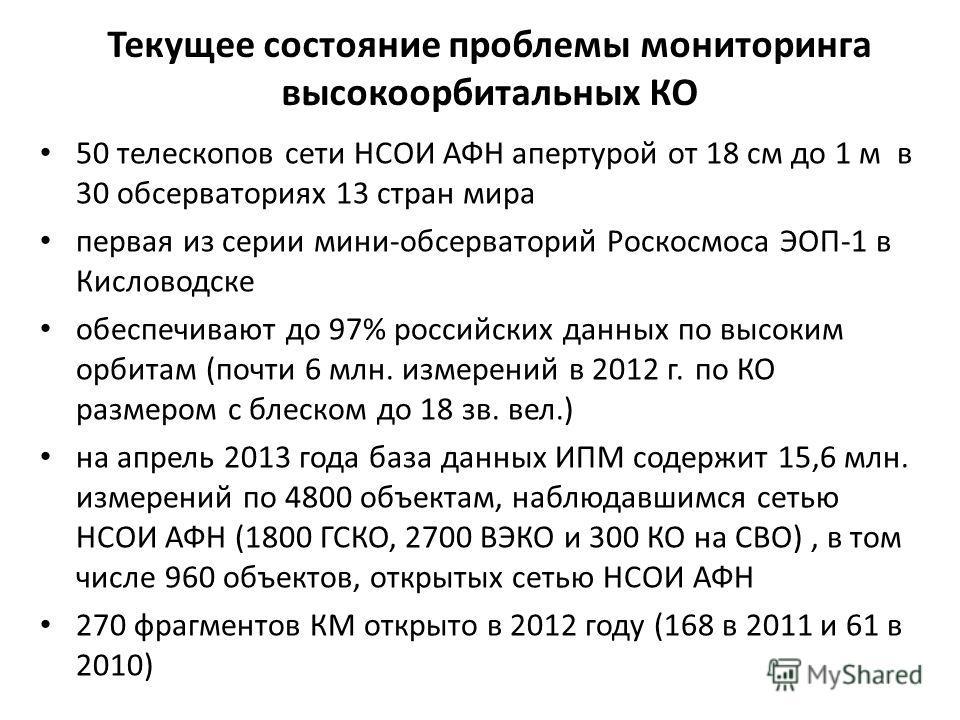 Текущее состояние проблемы мониторинга высокоорбитальных КО 50 телескопов сети НСОИ АФН апертурой от 18 см до 1 м в 30 обсерваториях 13 стран мира первая из серии мини-обсерваторий Роскосмоса ЭОП-1 в Кисловодске обеспечивают до 97% российских данных
