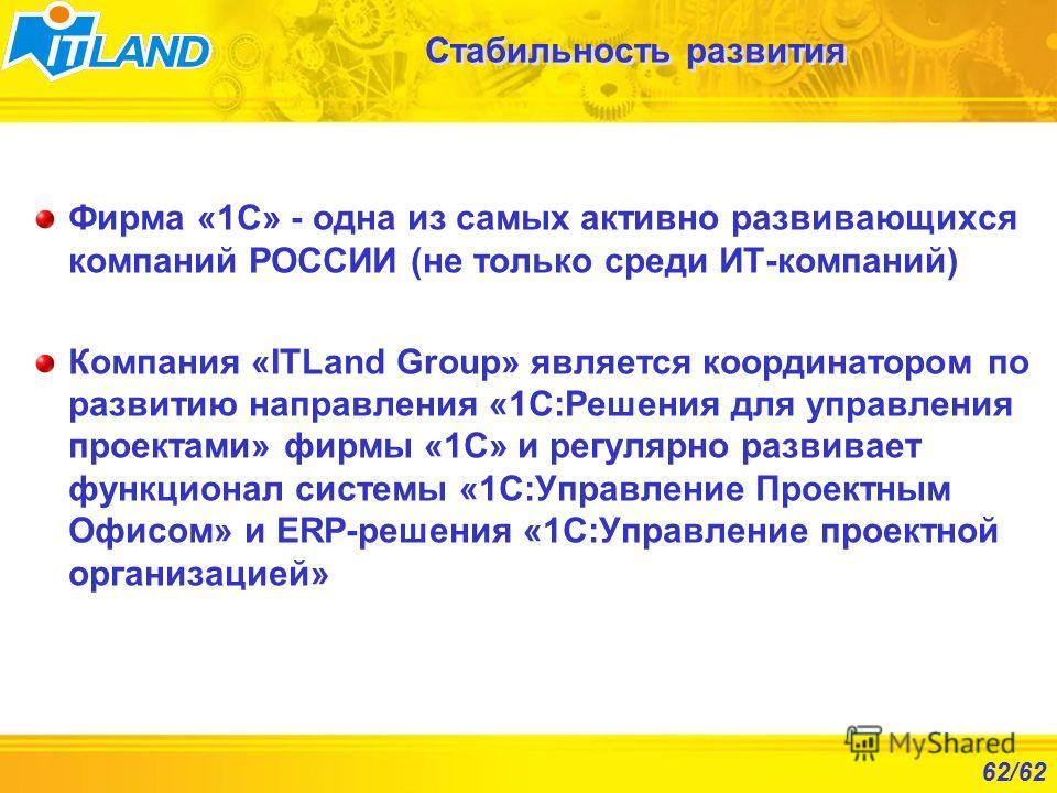 62/62 Стабильность развития Фирма «1С» - одна из самых активно развивающихся компаний РОССИИ (не только среди ИТ-компаний) Компания «ITLand Group» является координатором по развитию направления «1С:Решения для управления проектами» фирмы «1С» и регул