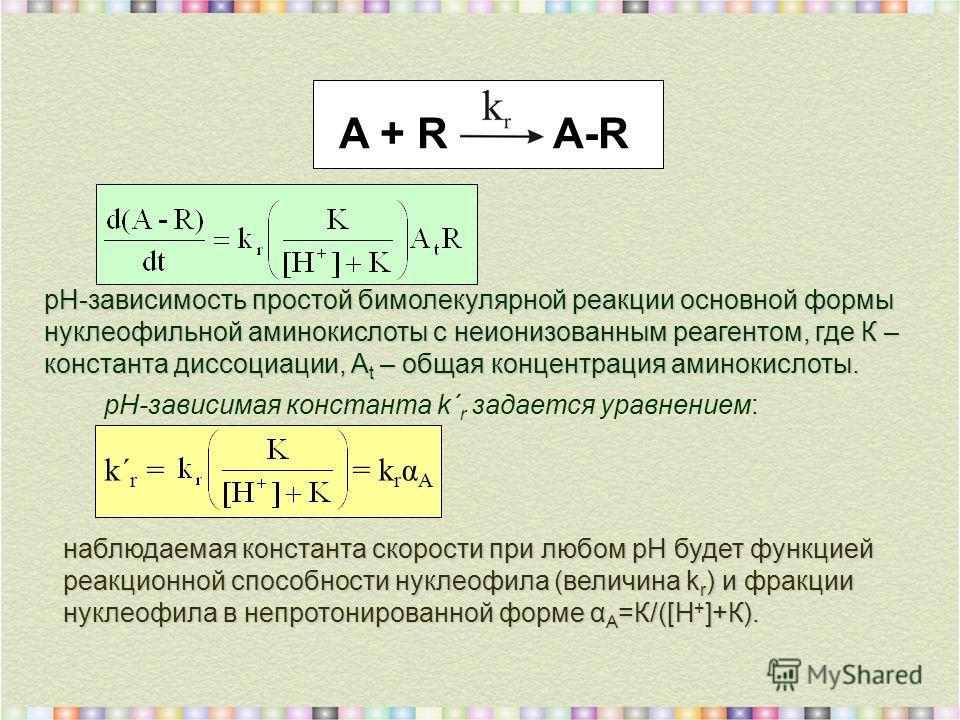 рН-зависимая константа k΄ r задается уравнением: k΄ r = = k r α A A + R A-R pH-зависимость простой бимолекулярной реакции основной формы нуклеофильной аминокислоты с неионизованным реагентом, где К – константа диссоциации, A t – общая концентрация ам