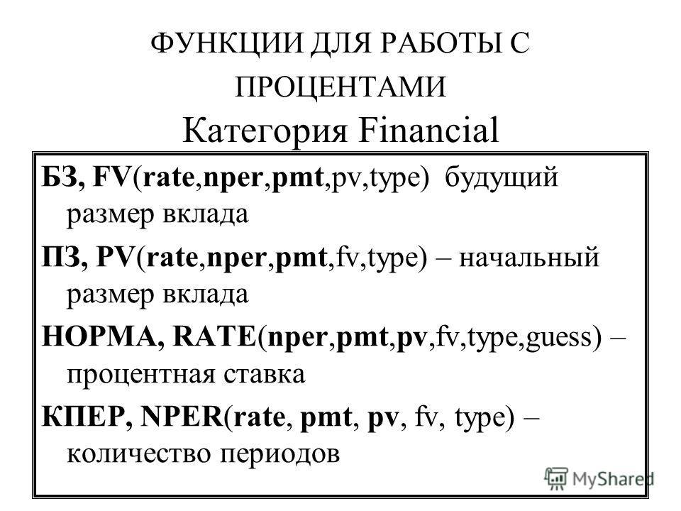 ФУНКЦИИ ДЛЯ РАБОТЫ С ПРОЦЕНТАМИ Категория Financial БЗ, FV(rate,nper,pmt,pv,type) будущий размер вклада ПЗ, PV(rate,nper,pmt,fv,type) – начальный размер вклада НОРМА, RATE(nper,pmt,pv,fv,type,guess) – процентная ставка КПЕР, NPER(rate, pmt, pv, fv, t