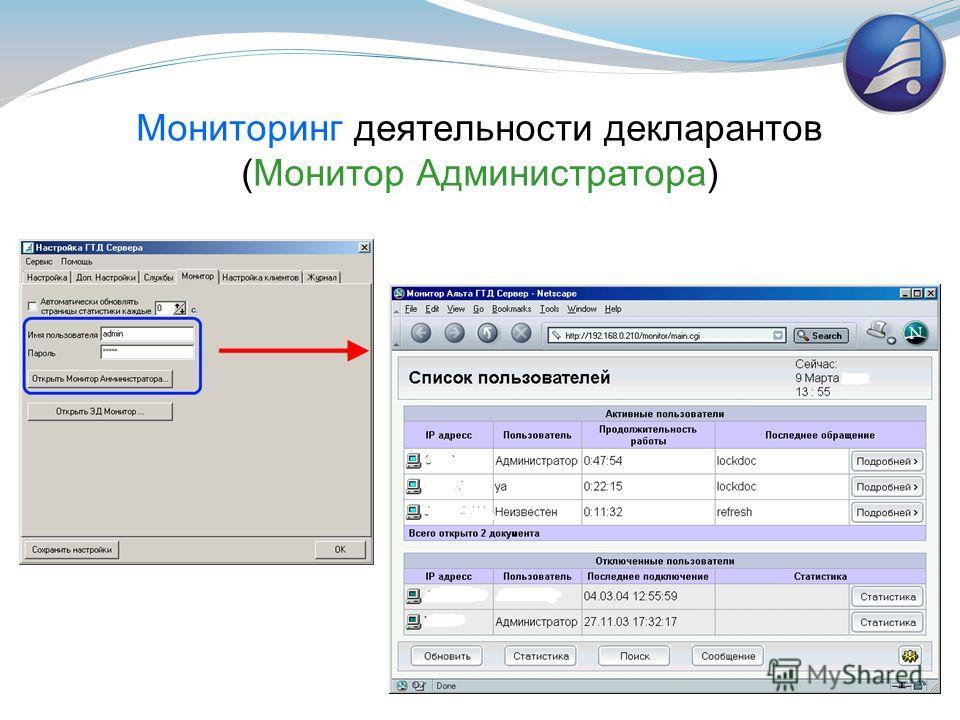 Мониторинг деятельности декларантов (Монитор Администратора)