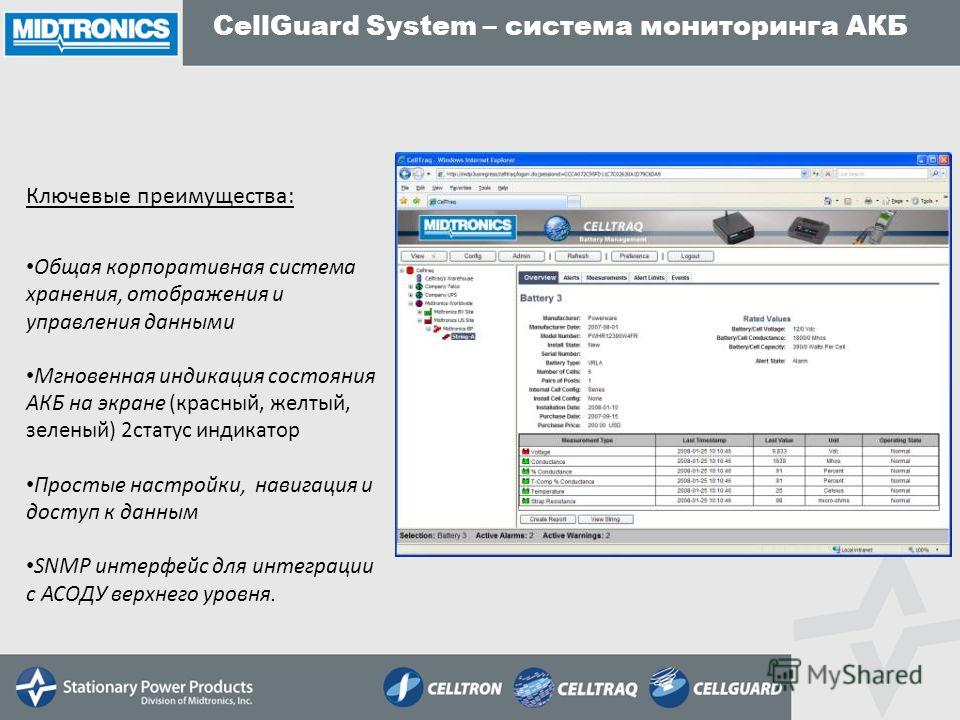 Общая корпоративная система хранения, отображения и управления данными Мгновенная индикация состояния АКБ на экране (красный, желтый, зеленый) 2статус индикатор Простые настройки, навигация и доступ к данным SNMP интерфейс для интеграции с АСОДУ верх