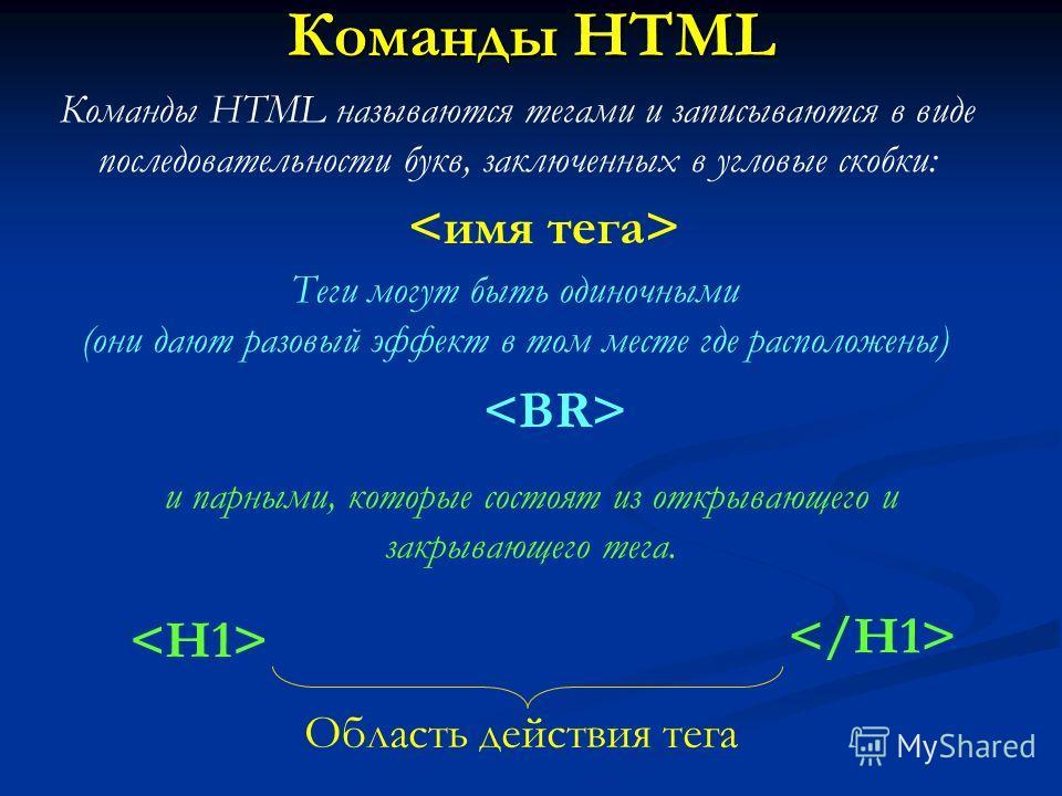 Команды HTML Команды HTML называются тегами и записываются в виде последовательности букв, заключенных в угловые скобки: Теги могут быть одиночными (они дают разовый эффект в том месте где расположены) и парными, которые состоят из открывающего и зак