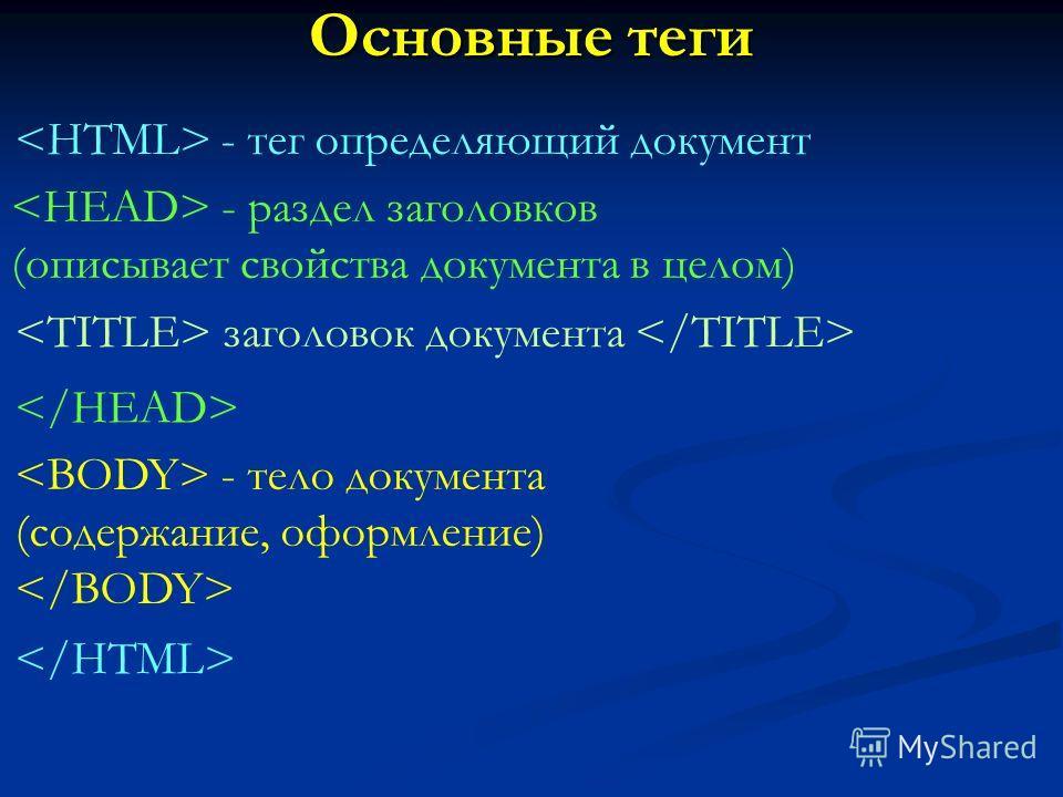 Основные теги - тег определяющий документ - раздел заголовков (описывает свойства документа в целом) заголовок документа - тело документа (содержание, оформление)