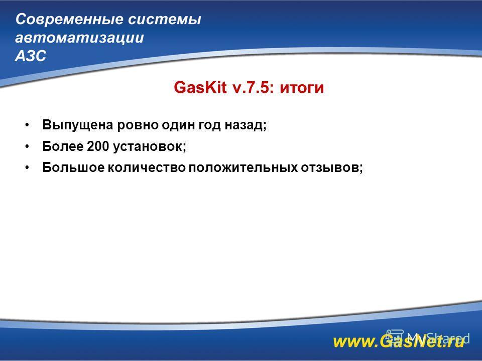 GasKit v.7.5: итоги Выпущена ровно один год назад; Более 200 установок; Большое количество положительных отзывов;