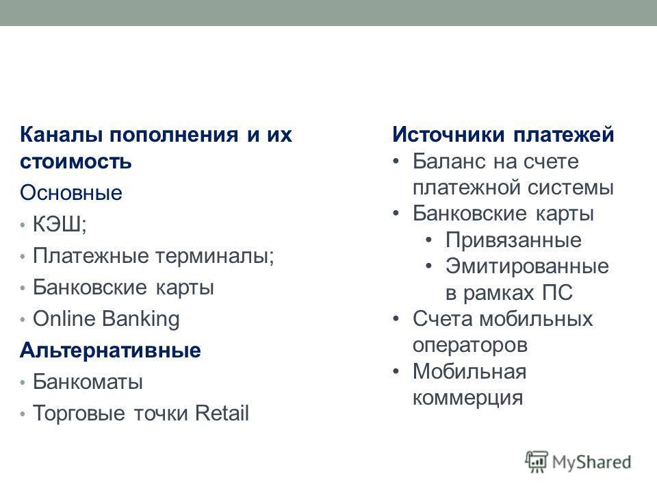Каналы пополнения и их стоимость Основные КЭШ; Платежные терминалы; Банковские карты Online Banking Альтернативные Банкоматы Торговые точки Retail Источники платежей Баланс на счете платежной системы Банковские карты Привязанные Эмитированные в рамка