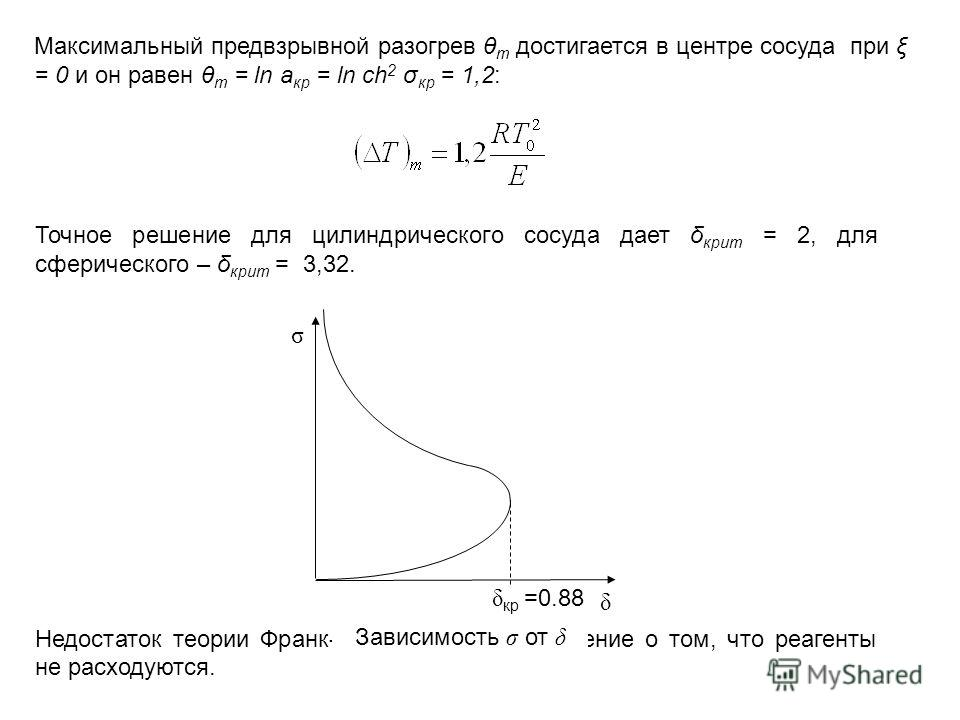 Максимальный предвзрывной разогрев θ m достигается в центре сосуда при ξ = 0 и он равен θ m = ln a кр = ln ch 2 σ кр = 1,2: Точное решение для цилиндрического сосуда дает δ крит = 2, для сферического – δ крит = 3,32. Недостаток теории Франк-Каменецко