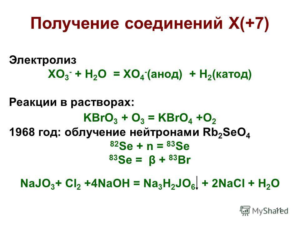 11 Получение соединений X(+7) Электролиз XO 3 - + H 2 O = XO 4 - (анод) + H 2 (катод) Реакции в растворах: KBrO 3 + O 3 = KBrO 4 +O 2 1968 год: облучение нейтронами Rb 2 SeO 4 82 Se + n = 83 Se 83 Se = β + 83 Br NaJO 3 + Cl 2 +4NaOH = Na 3 H 2 JO 6 +