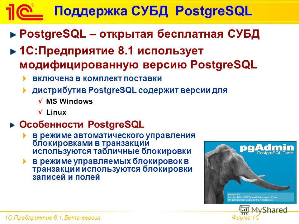 Фирма 1С1С:Предприятие 8.1. Бета-версия Поддержка СУБД PostgreSQL PostgreSQL – открытая бесплатная СУБД 1С:Предприятие 8.1 использует модифицированную версию PostgreSQL включена в комплект поставки дистрибутив PostgreSQL содержит версии для MS Window
