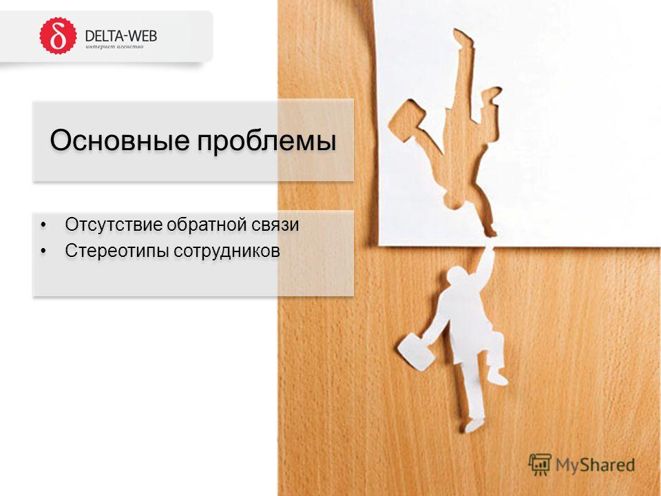 Отсутствие обратной связи Стереотипы сотрудников Отсутствие обратной связи Стереотипы сотрудников Основные проблемы