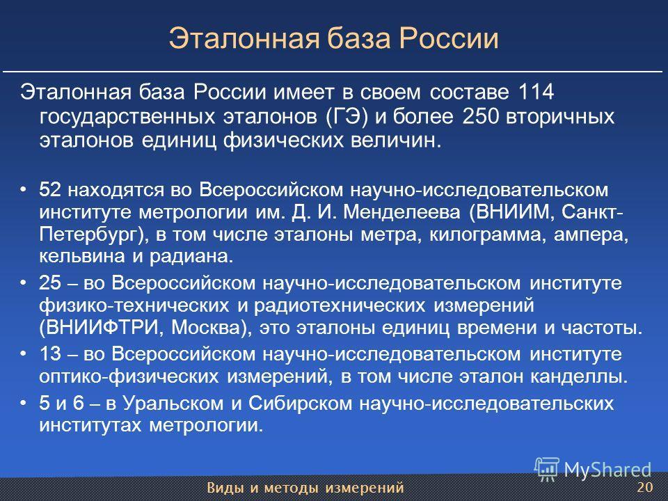 Виды и методы измерений 20 Эталонная база России Эталонная база России имеет в своем составе 114 государственных эталонов (ГЭ) и более 250 вторичных эталонов единиц физических величин. 52 находятся во Всероссийском научно-исследовательском институте