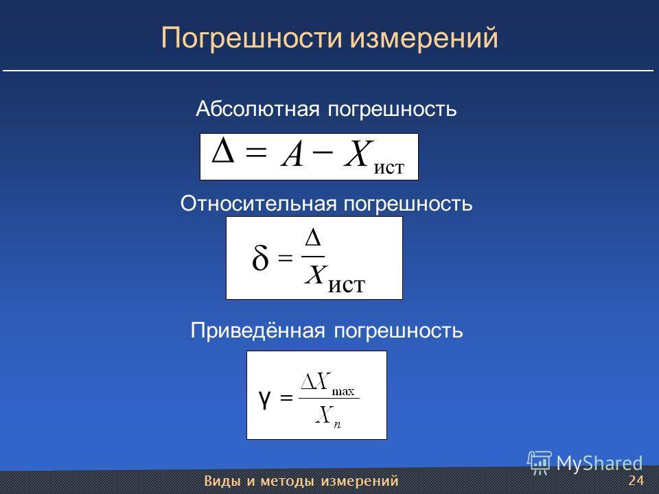 Виды и методы измерений 24 Погрешности измерений Абсолютная погрешность Относительная погрешность Приведённая погрешность γ ист АХ ист