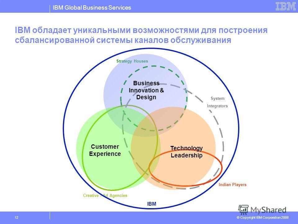 IBM Global Business Services © Copyright IBM Corporation 2008 12 IBM обладает уникальными возможностями для построения сбалансированной системы каналов обслуживания Strategy Houses Creative / Ad Agencies System Integrators Indian Players Business Inn