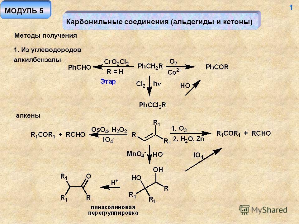 Карбонильные соединения (альдегиды и кетоны) Методы получения 1. Из углеводородов МОДУЛЬ 5 1 алкилбензолы алкены