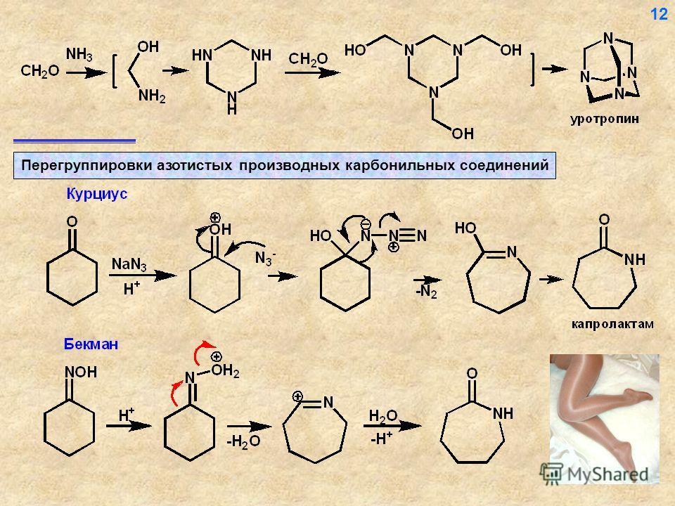 Перегруппировки азотистых производных карбонильных соединений 12