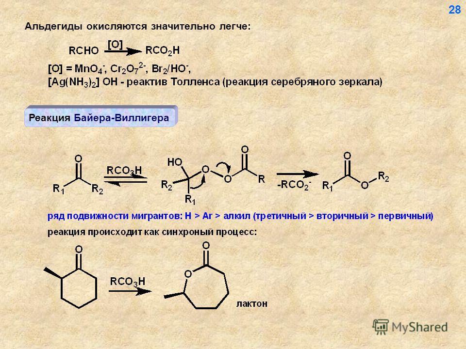Альдегиды окисляются значительно легче: Реакция Байера-Виллигера 28