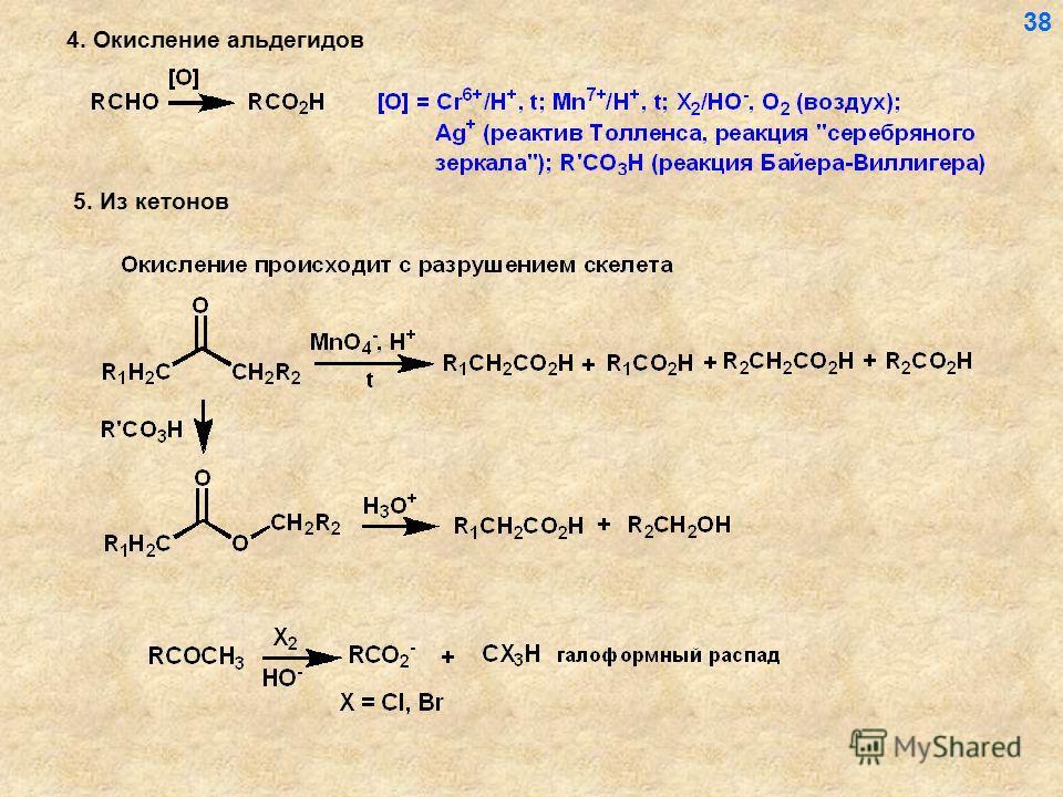 4. Окисление альдегидов 38 5. Из кетонов