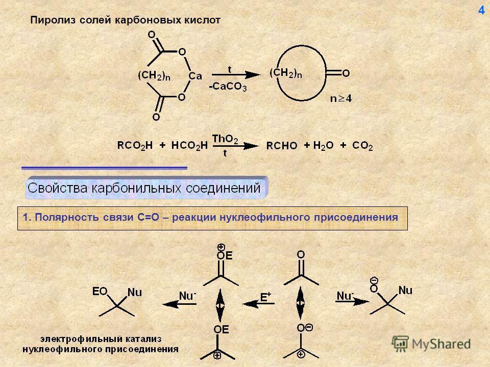 Пиролиз солей карбоновых кислот 1. Полярность связи С=О – реакции нуклеофильного присоединения 4