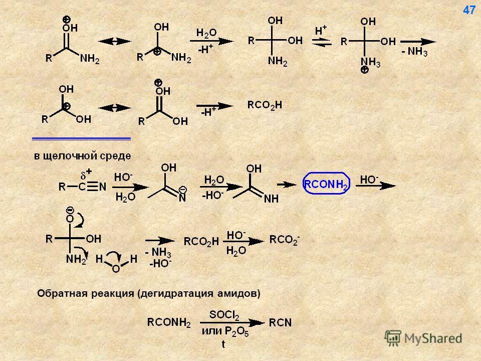 47 Обратная реакция (дегидратация амидов)