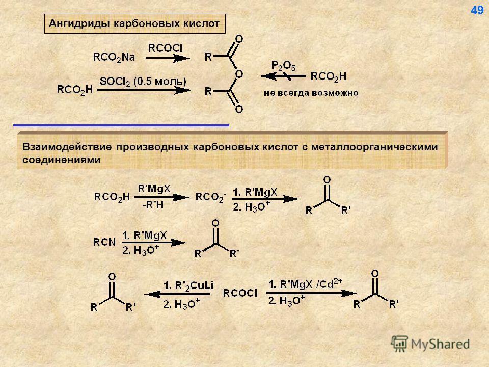 Ангидриды карбоновых кислот Взаимодействие производных карбоновых кислот с металлоорганическими соединениями 49