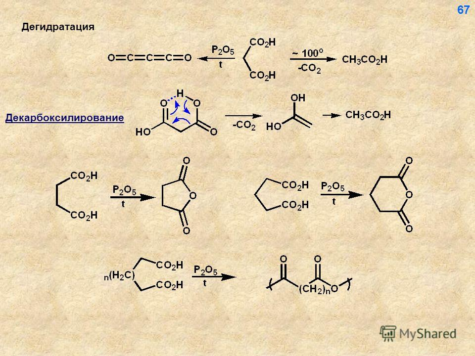 Дегидратация 67 Декарбоксилирование