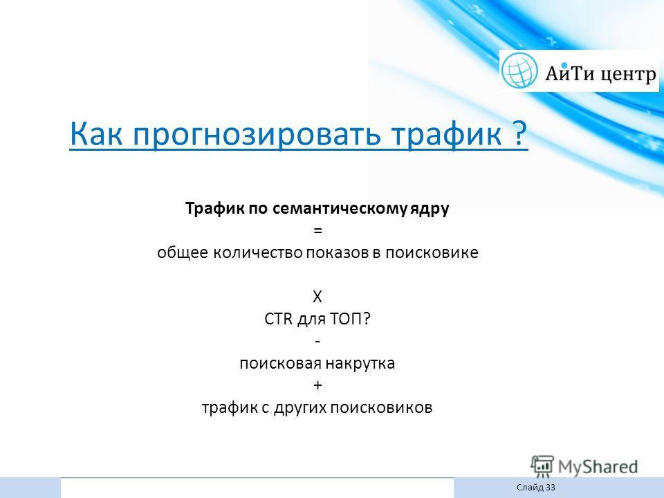Как прогнозировать трафик ? Трафик по семантическому ядру = общее количество показов в поисковике X CTR для ТОП? - поисковая накрутка + трафик с других поисковиков Слайд 33