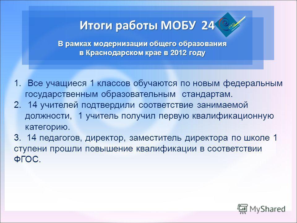 Итоги работы МОБУ 24 В рамках модернизации общего образования в Краснодарском крае в 2012 году 1. Все учащиеся 1 классов обучаются по новым федеральным государственным образовательным стандартам. 2. 14 учителей подтвердили соответствие занимаемой дол