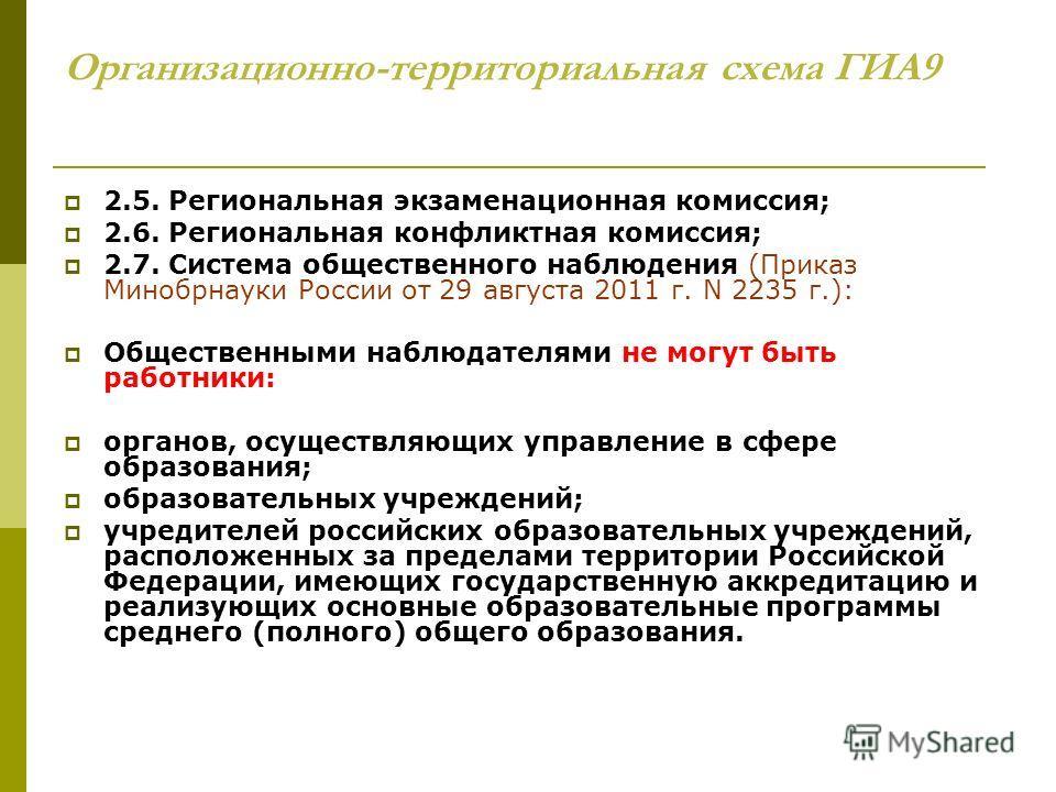 Организационно-территориальная схема ГИА9 2.5. Региональная экзаменационная комиссия; 2.6. Региональная конфликтная комиссия; 2.7. Система общественного наблюдения (Приказ Минобрнауки России от 29 августа 2011 г. N 2235 г.): Общественными наблюдателя