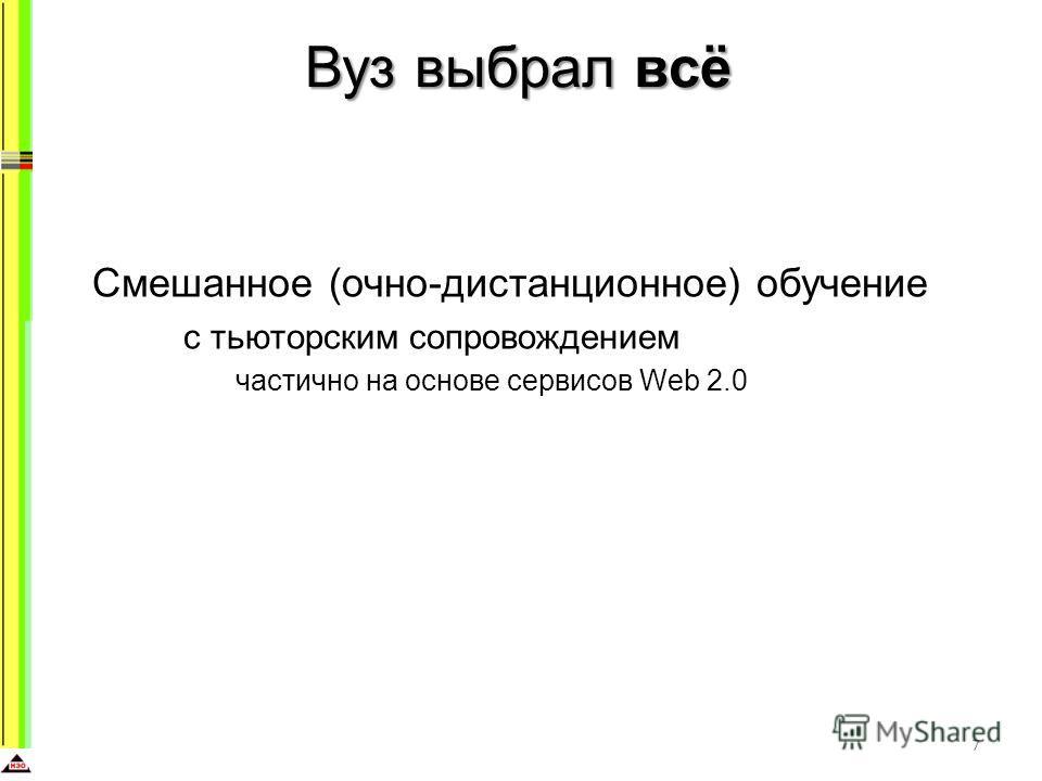Вуз выбрал всё Смешанное (очно-дистанционное) обучение с тьюторским сопровождением частично на основе сервисов Web 2.0 7