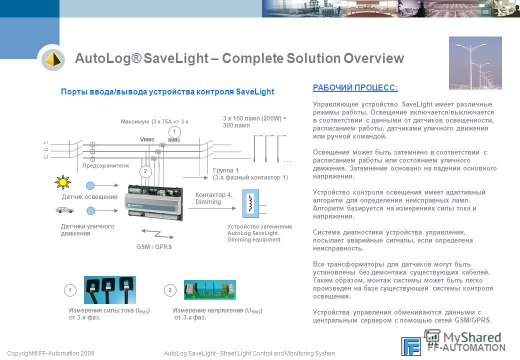 FF-AUTOMATION AutoLog SaveLight - Street Light Control and Monitoring SystemCopyright® FF-Automation 2009 РАБОЧИЙ ПРОЦЕСС: Управляющее устройство SaveLight имеет различные режимы работы. Освещение включается/выключается в соответствии с данными от да