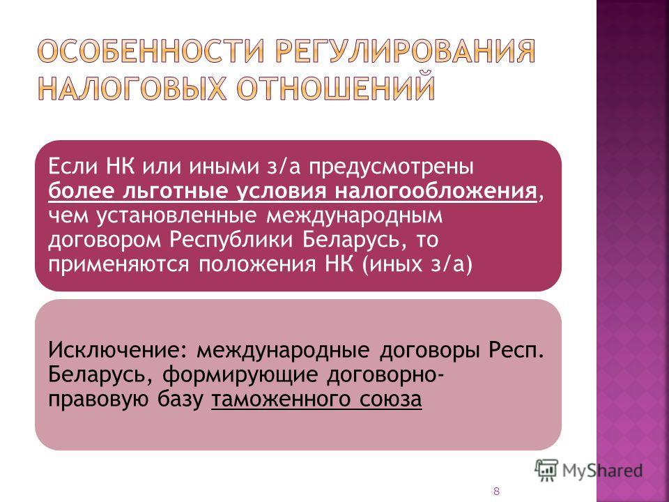 Если НК или иными з/а предусмотрены более льготные условия налогообложения, чем установленные международным договором Республики Беларусь, то применяются положения НК (иных з/а) Исключение: международные договоры Респ. Беларусь, формирующие договорно