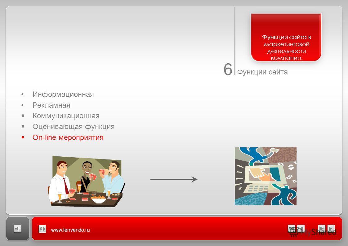 6 Функции сайта www.lenvendo.ru Функции сайта в маркетинговой деятельности компании. Информационная Рекламная Коммуникационная Оценивающая функция On-line мероприятия