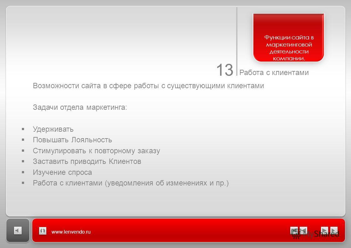 13 Работа с клиентами www.lenvendo.ru Возможности сайта в сфере работы с существующими клиентами Задачи отдела маркетинга: Удерживать Повышать Лояльность Стимулировать к повторному заказу Заставить приводить Клиентов Изучение спроса Работа с клиентам