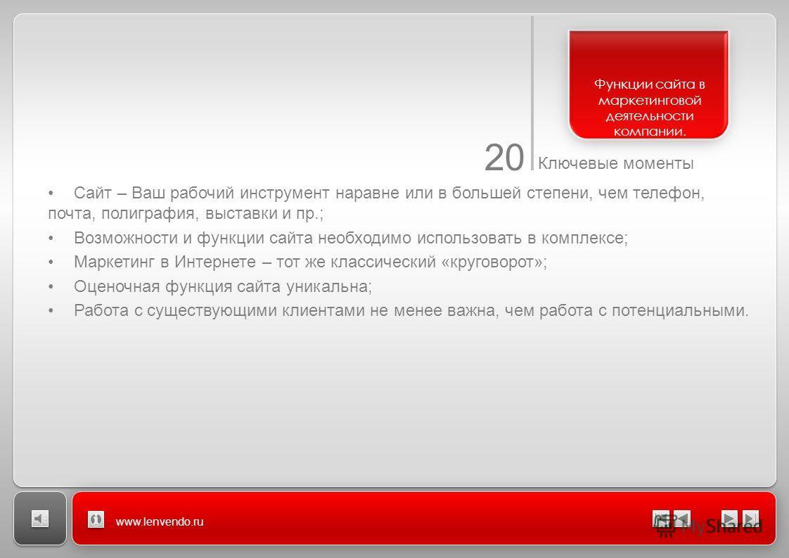 20 Ключевые моменты www.lenvendo.ru Сайт – Ваш рабочий инструмент наравне или в большей степени, чем телефон, почта, полиграфия, выставки и пр.; Возможности и функции сайта необходимо использовать в комплексе; Маркетинг в Интернете – тот же классичес